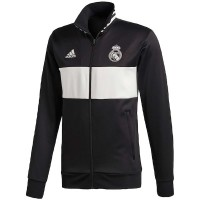 Real Madrid Three-Stripe Full-Zip Black/White Track Jacket