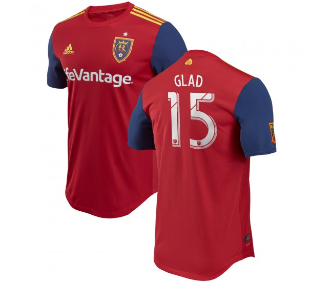 Men's Real Salt Lake Justen Glad adidas Red 2018 Primary Authentic Player Jersey