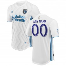 Men's San Jose Earthquakes adidas White 2018 Secondary Authentic Custom Jersey