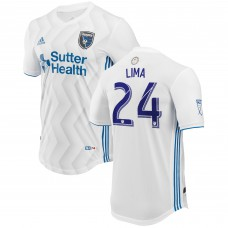 Men's San Jose Earthquakes Nick Lima adidas White 2018 Secondary Authentic Player Jersey