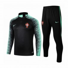 Portugal Team Black Stripe Tech Training Soccer Tracksuit 2018/19 - Kids